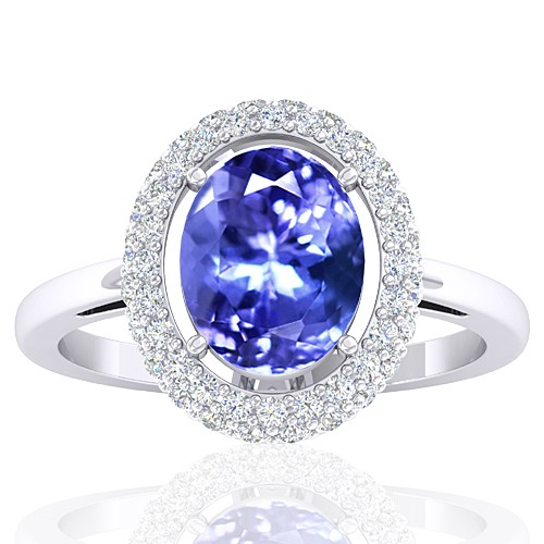 14k White Gold 2.37 cts Tanzanite Gemstone Diamond Cocktail Women Wedding Designer Fine Ring