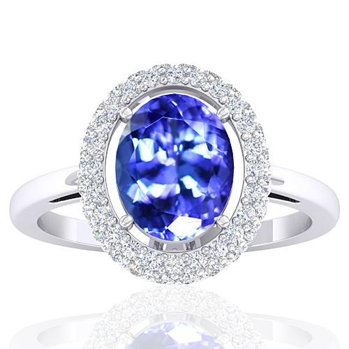 14k White Gold 2.33 cts Tanzanite Stone Diamond Women Wedding Fine Jewelry Ring