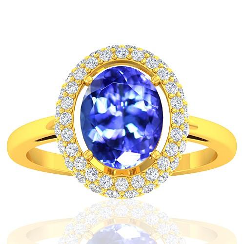 18K Yellow Gold 2.33 cts Tanzanite Stone Diamond Women Wedding Fine Jewelry Ring