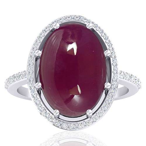 14K White Gold 13.12 Cts Ruby Gemstone Diamond Women Wedding Designer Fine Jewelry Ring