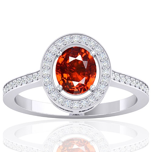 14k White Gold 1.47 cts Rhodolite Garnet Stone Diamond Women Designer Fine Jewelry Ring