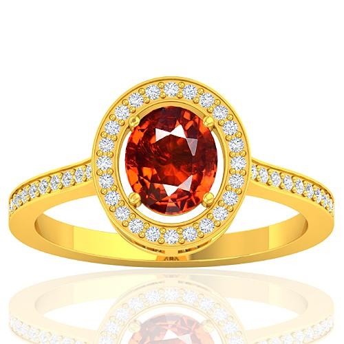18K Yellow Gold 1.47 cts Rhodolite Garnet Stone Diamond Women Designer Fine Jewelry Ring