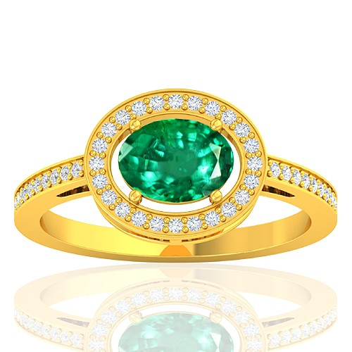 18K Yellow Gold 1.05 Cts Emerald Gemstone Diamond Women Designer Fine Jewelry Ring