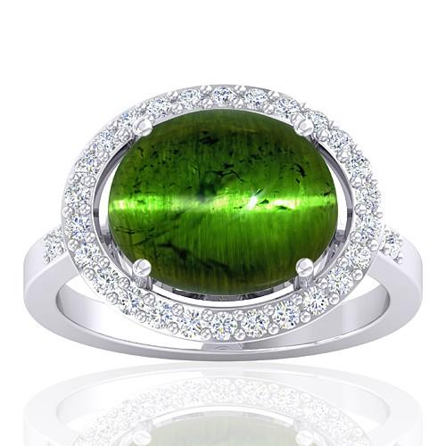 14 White Gold 6.36 cts Tourmaline Gemstone Diamond Cocktail Women Engagement Ring
