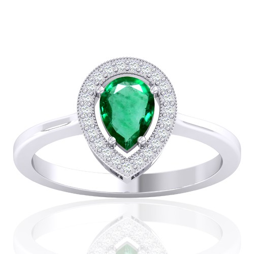 14K White Gold 0.61 cts Emerald Gemstone Diamond Women Wedding Designer Fine Ring