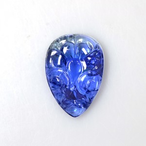 17.14 Cts Natural Bi Color Blue Tanzanite Handmade Pear Carving Unheated Gems