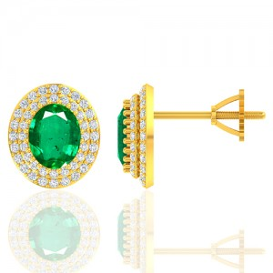 18K Yellow Gold 2.37 cts Emerald Gemstone Diamond Designer Fine Jewelry Ladies Earrings