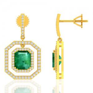 18K Yellow Gold 4.64 cts Emerald Gemstone Diamond Designer Fine Jewelry Women Earrings