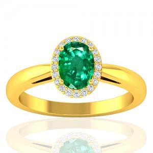 18K Yellow Gold Emerald Gemstone Diamond Women Engagement Designer Fine Jewelry Ring