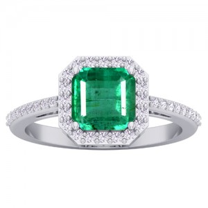 14k White Gold 1.6 cts 7x7 mm Emerald Diamond Women Designer Wedding Ring