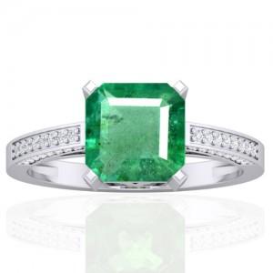 14k White Gold 8 mm Emerald Diamond Vintage Engagement Women Designer Ring