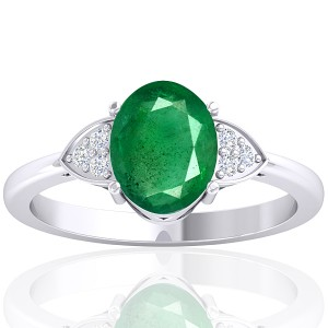 14K White Gold 1.82 cts Emerald Stone Diamond Cocktail Vintage Engagement Ring