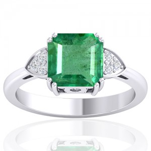 14K White Gold 2.29 cts Emerald Stone Diamond Designer Engagement Women Fine Jewelry Ring