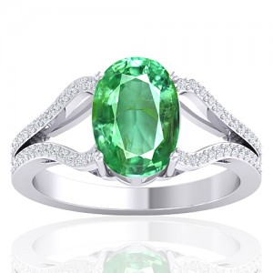 14K White Gold 2.25 cts Emerald Gemstone Diamond Cocktail Vintage Women Wedding Ring