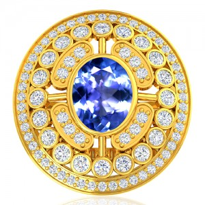 18K Yellow Gold 1.85 cts Tanzanite Stone Diamond Women Wedding Designer Fine Jewelry Ring