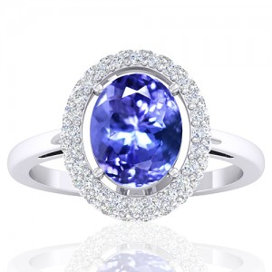 14k White Gold 2.37 cts Tanzanite Gemstone Diamond Cocktail Women Wedding Designer Fine Ring