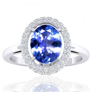 14K White Gold 1.85 Cts Oval Cut Tanzanite Gemstone Diamond Cocktail Women Jewelry Ring