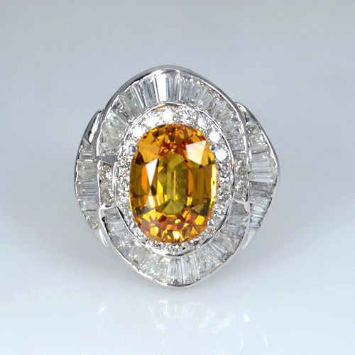 18k Pure White Gold Natural Top Yellow Sapphire Diamond Ladies Cocktail Ring