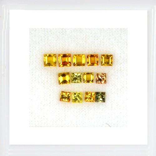 4.11 Cts Natural Multicolor Sapphire Loose Gemstone Square Cut Lot 13 pcs