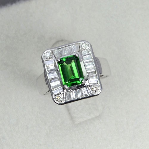 14K Pure White Gold Natural Tsavorite With Diamond Cocktail Designer Fine Ring