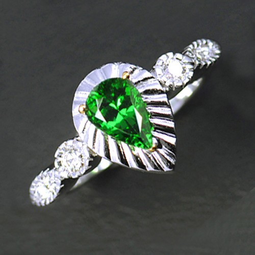 14k Pure White Gold Natural 1.16 cts Tsavorite Garnet + Diamond Designer Ring