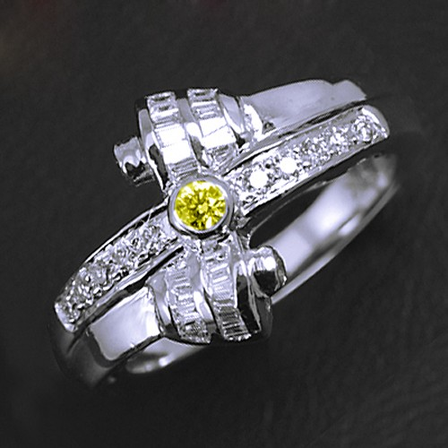 14k Pure White Gold top Natural 0.11 cts Yellow 0.33 cts White Diamond Vintage Ring