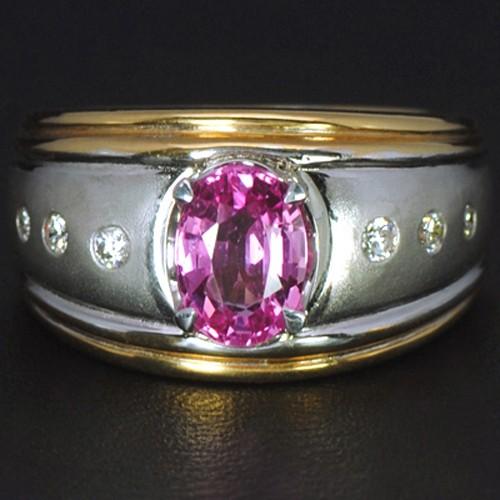 14k Pure Gold Natural Top Pink Sapphire Diamond Wedding Cocktail Designer Ring