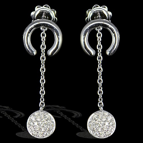 14k Pure White Gold Natural Real Top Diamonds Ladies Fine Designer Earrings