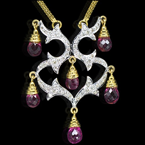 18k Pure Yellow Gold Natural Top Tourmaline Diamond Ladies Pendant With Chain