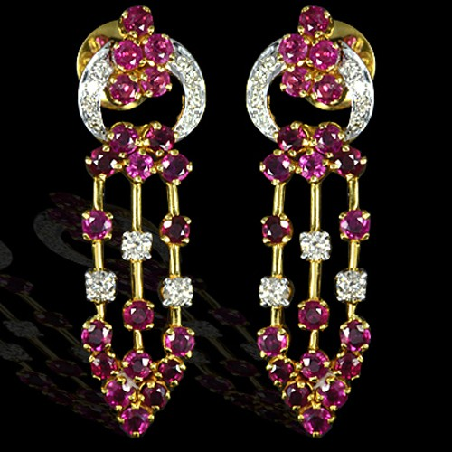 18k Pure Yellow Gold Natural Top 5.50 Cts Ruby Diamond Ladies Fine Jewelry Earrings