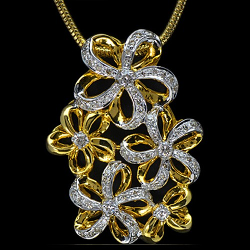 18k Pure yellow Gold Natural Top 0.49 Cts Diamond Ladies Pendant With Chain
