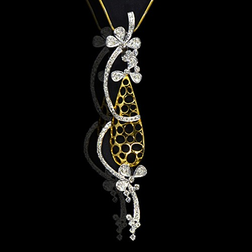 18k Pure yellow Gold Natural Top 0.92 Carat Diamonds Ladies Pendant With Chain