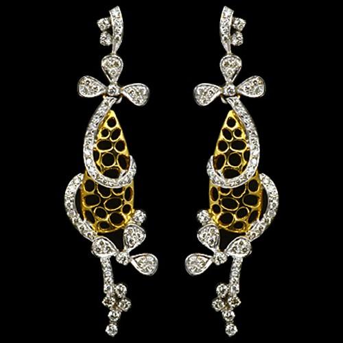 18k Pure Yellow Gold Natural Top 1.28 Carat Diamonds Ladies Fine Designer Earrings