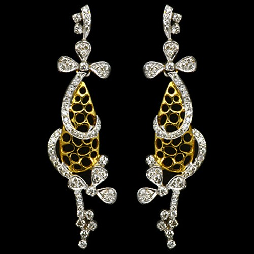 18k Pure Yellow Gold Natural Top 1.28 Carat Diamonds Ladies Fine Designer Earrings