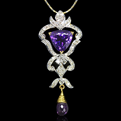 18k Pure yellow Gold Natural Top Amethyst Diamond Ladies Pendant With Chain