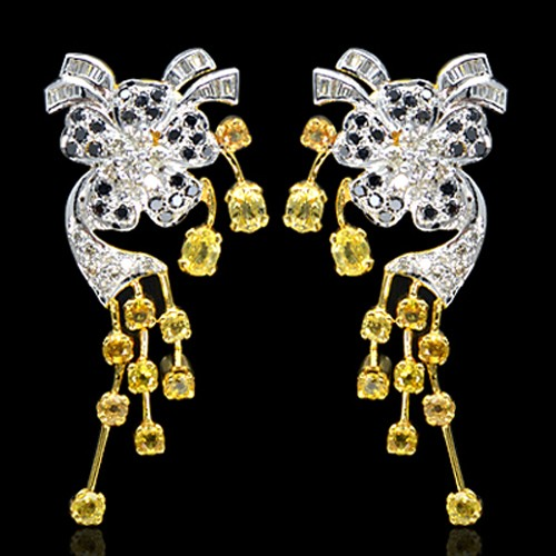 18K Pure Gold Natural Yellow Sapphire Diamond Ladies Earrings Tops