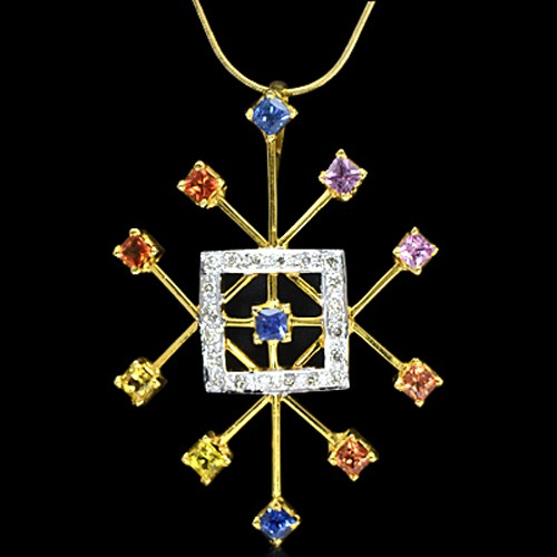 18K Pure Gold Natural Multicolor Sapphire Diamond Ladies Pendant With Chain