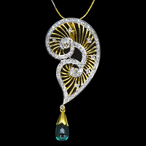 14K Pure Gold Natural Hydro Emerald Diamond Ladies Pendant With Chain