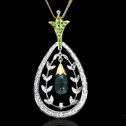 14K Pure Gold Natural Green Emerald Diamond Ladies Pendant With Chain