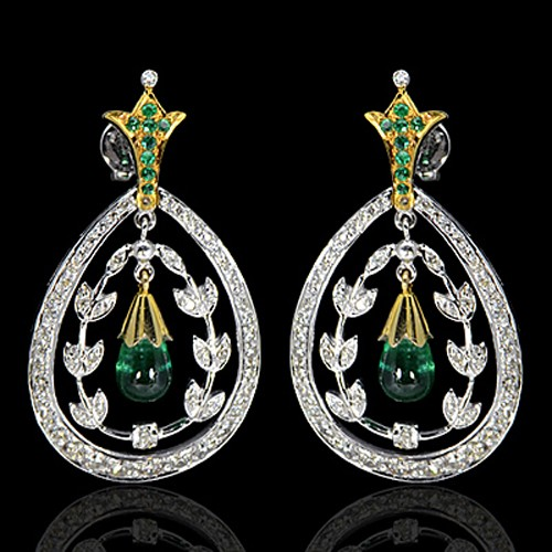14K Pure Gold Natural Top Green Emerald Diamond Ladies Earrings