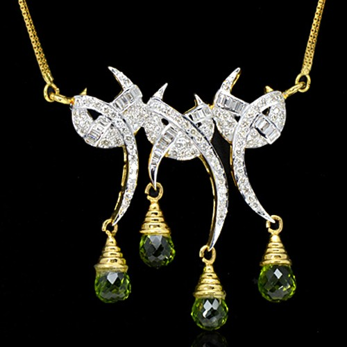 18K Pure Gold Natural Green Peridot Diamond Ladies Pendant With Chain
