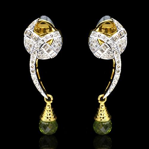 18K Pure Gold Natural Top Green Peridot Diamond Ladies Earrings