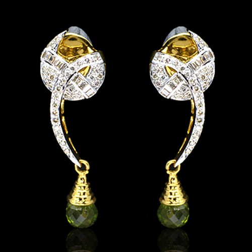 18K Pure Gold Natural Top Green Peridot Diamond Ladies Earrings