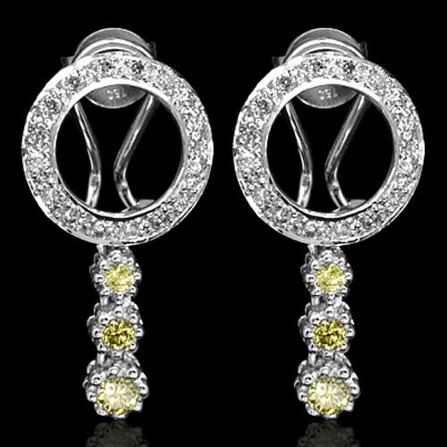 18k Pure White Gold Natural Top Yellow White Diamond Ladies Designer Earrings