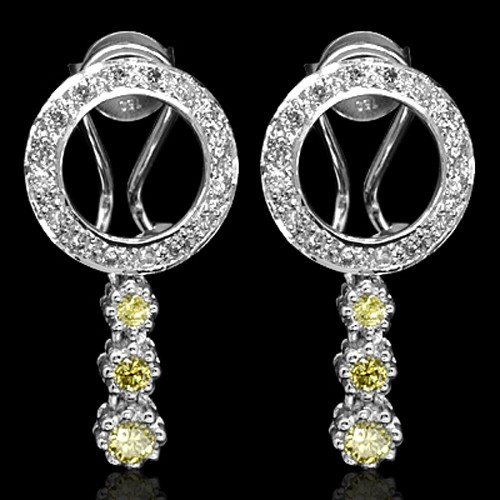 18k Pure White Gold Natural Top Yellow White Diamond Ladies Designer Earrings