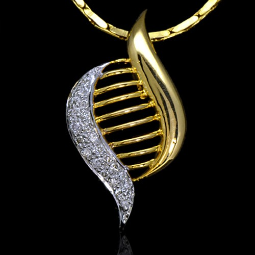 14k Pure Yellow Gold Natural Top 0.46 Carat Diamonds Ladies Pendant With Chain