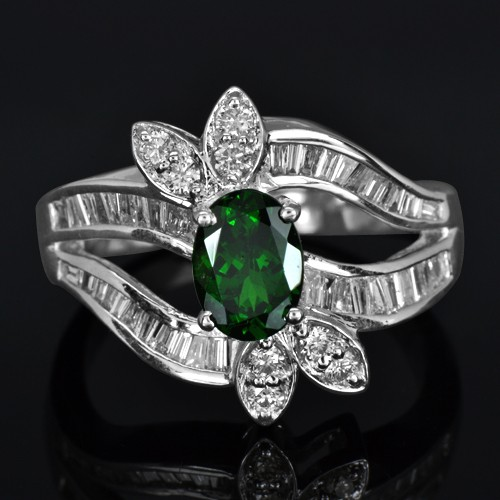 14K White Gold Natural Top 1.05 Carat Tsavorite Diamond Ladies Designer Ring