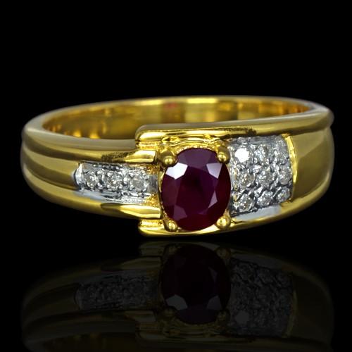 9K Yellow Gold Natural 0.40 Carat Deep Red Ruby Diamond Ladies Cocktail Ring