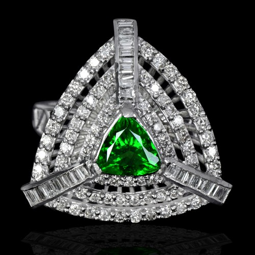 14k Pure White Gold Natural 1.35 Carat Tsavorite Garnet Diamond Vintage Designer Ring