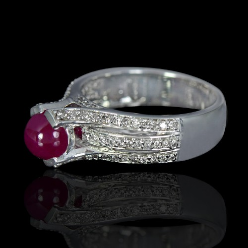 14K Pure White Gold Natural 1.63 Carat Unheated Red Ruby Diamond Ladies Fine Ring